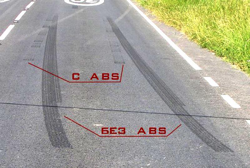 Тормозной путь при экстренном торможении с АБС и без АБС