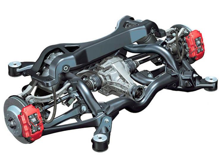 Многорычажная задняя подвеска Porsche в сборе с подрамником