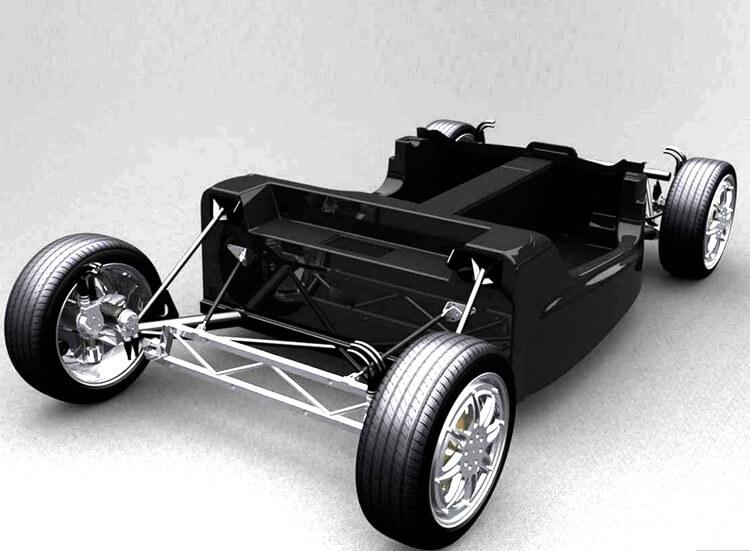 Платформа электромобиля с независимыми колесами